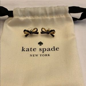 Kate Spade Black with Gold Bow Earrings